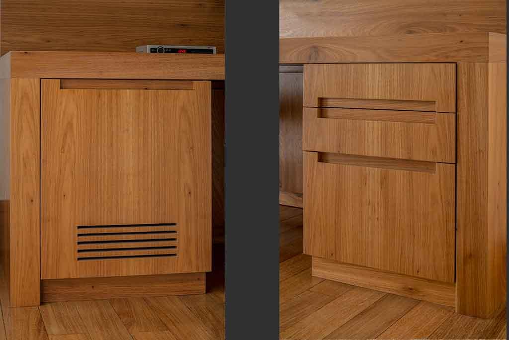 sob medida amario de madeira refrigerado para esconder computador